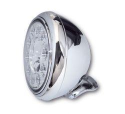 Highsider LED Hauptscheinwerfer HD-Style Chrom mit Abblend- Fern- und Standlichtfunktion E-homologiert verchromte Blende und Befestigung unten