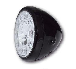 Highsider LED Hauptscheinwerfer Reno Schwarz mit Abblend- Fern- und Standlichtfunktion E-homologiert verchromte Blende und seitliche Befestigung