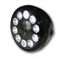 Highsider LED Hauptscheinwerfer Reno Schwarz mit Abblend- Fern- und Standlichtfunktion E-homologiert schwarze Blende und seitliche Befestigung