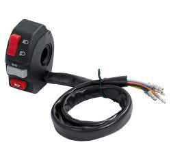 Universal Schalterarmatur Lenker Links mit Abblend-/Fernlicht Umschalter, Blinkerschalter und Hupentaster