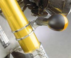 Blinkerhalteschelle verchromt, VA-Poliert, lasergeschnitten, verchromt oder Edelstahl poliert